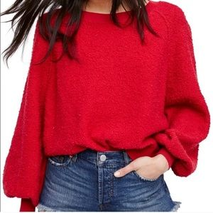 Free People Red Holiday Bishop Sleeve Sweater